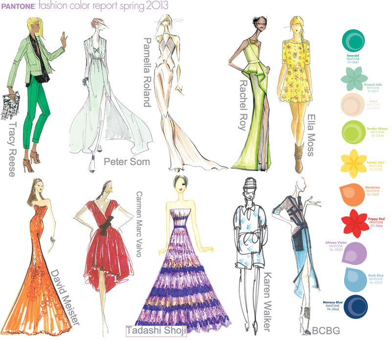 Pantone spring 2013 fashion colors colours sketches