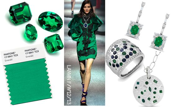 Pantone emerald jewelry fashion runway trend