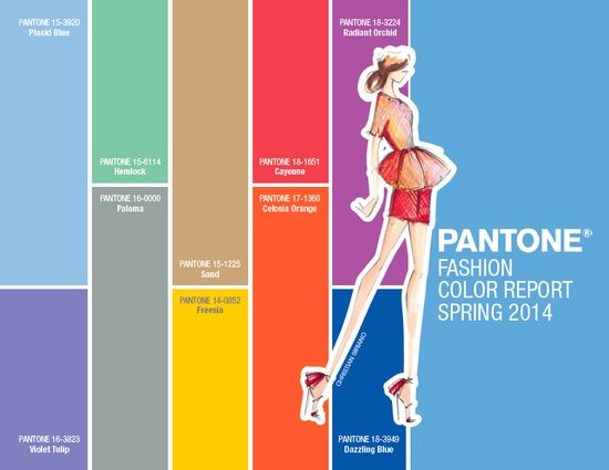 Pantone spring 2014 fashion trend color palette