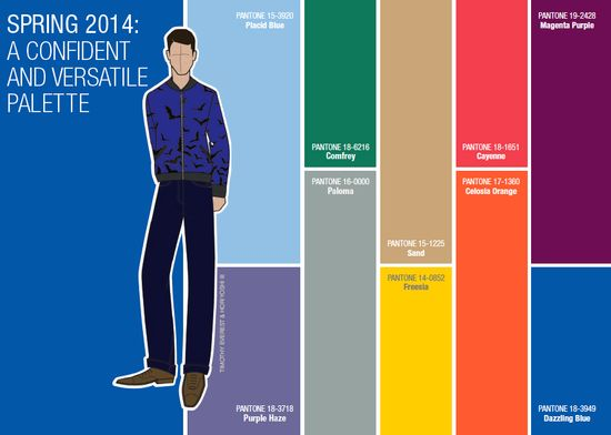 Pantone spring 2014 menswear color trend palette