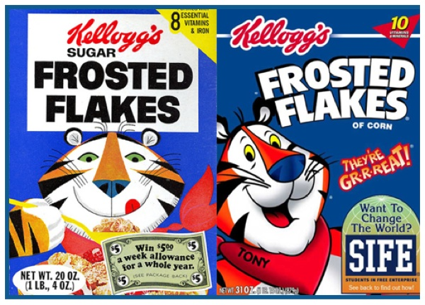 Frosted flakes tony tiger cereal boxes