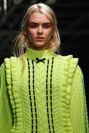 Christopher kane fall 2014 neon lime green ugly sweater