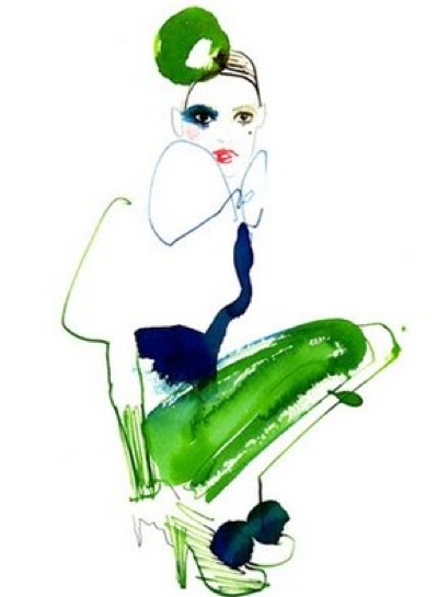 Green fashion illustration drawing lovisa burfitt