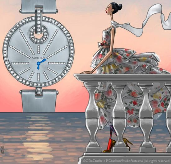 Luxury fashion watch illustration