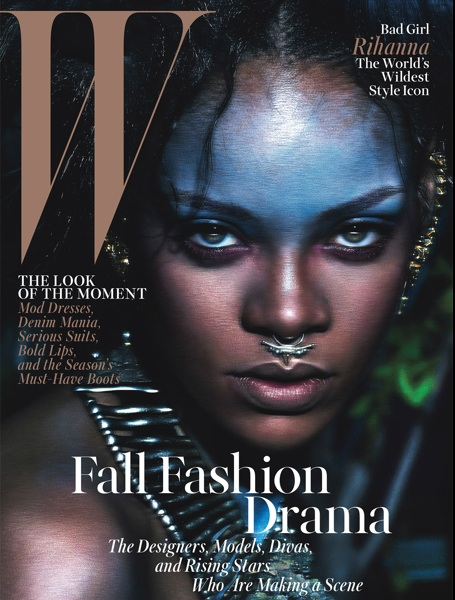 Rihanna w magazine cover gold septum ring meadowlark