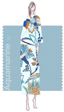 Pantone aquamarine blue fashion illustration sketch