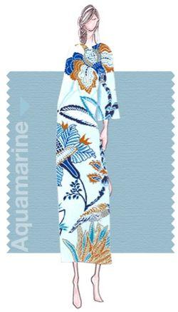 Pantone aquamarine blue fashion illustration sketch