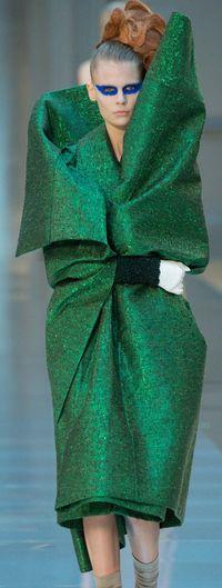 Green margiela dress fall 2015 galliano haute couture