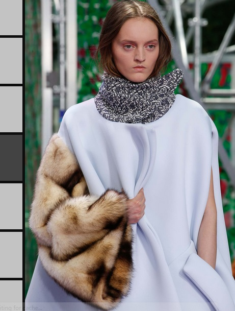 Dior couture fall 2015 fur asymetrical sleeve