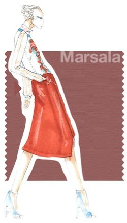 Pantone marsala fashion illustration sketch