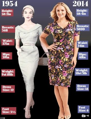 Womens height weight 1950s now