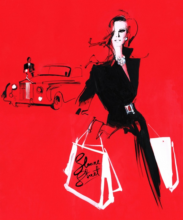 Luxury shopping fashion illustration sloane street