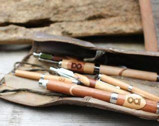 Handmade reclaimed wood click pens