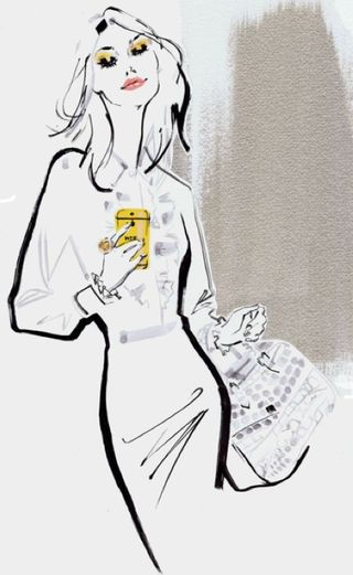 Fashion model smartphone technology illustration