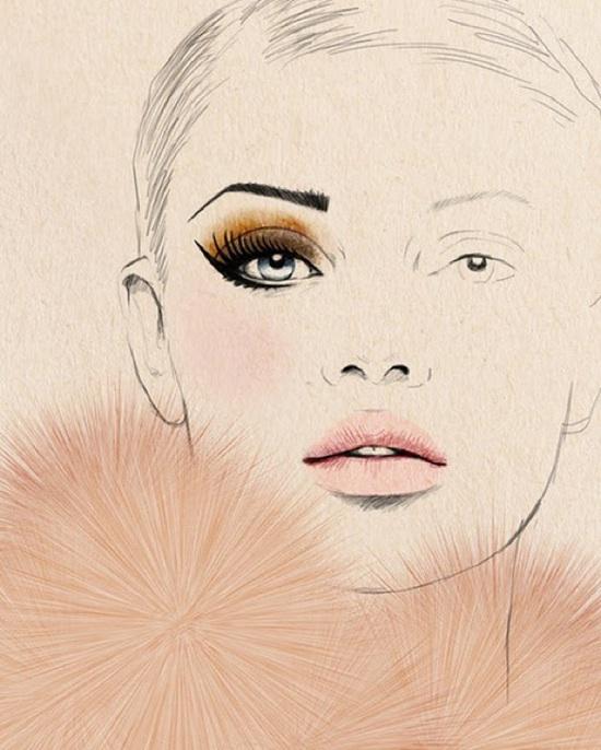 Applying fashion makeup illustration
