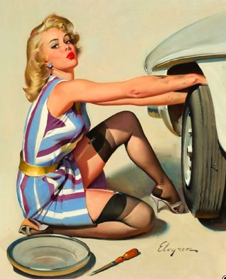 Gil elvgren changing car tire pinup pin up girl art