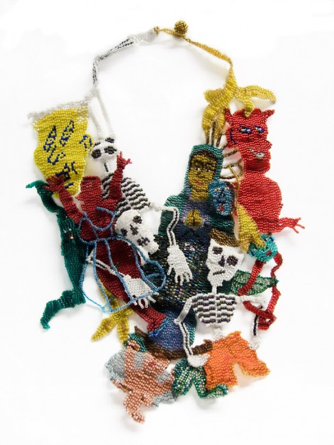 Joyce Scott-Virgin-of-Guadalupe handmade necklace