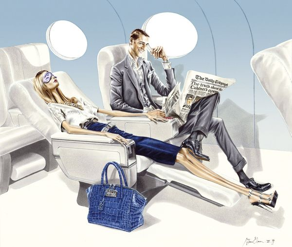 Arturo elena wealthy luxury travel fashion illustration