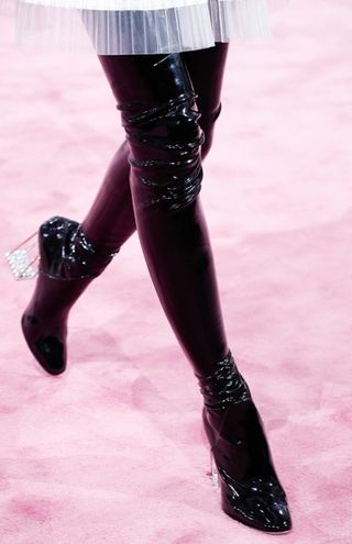 Christian dior couture spring 2015 vinyl black fetish boots
