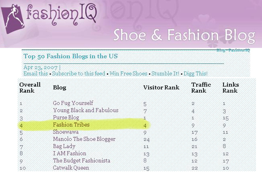 Fashiontribes Voted on of the Top 10 US Fashion Blogs