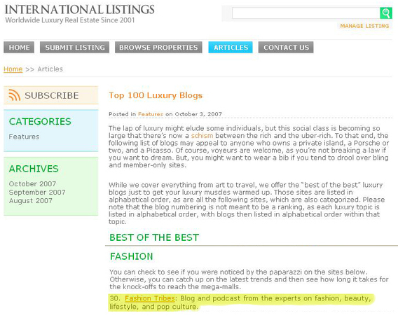 Fashiontribes Voted one of the Top 10 Best of the Best Fashion Blogs in the Top 100 Fashion Blogs