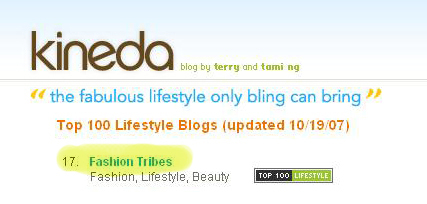 Fashiontribes one of the Technorati Top 20 Lifestyle Blogs