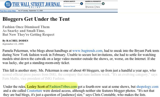Fashiontribes quoted in the Wall Street Journal