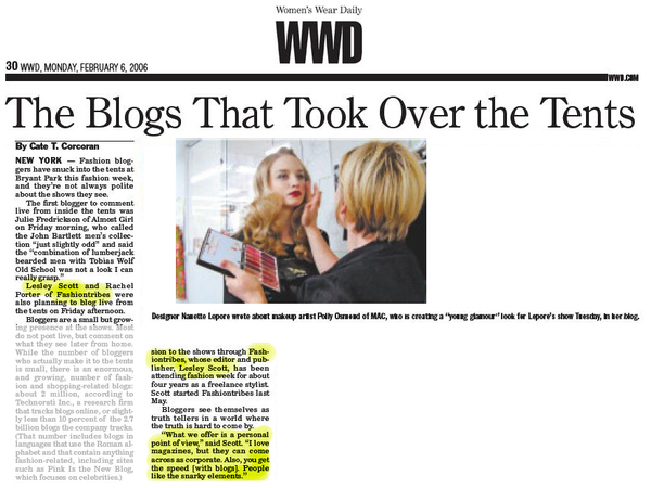 Fashiontribes Featured in WWD