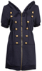 Hoodie Dress with Military Buttons
