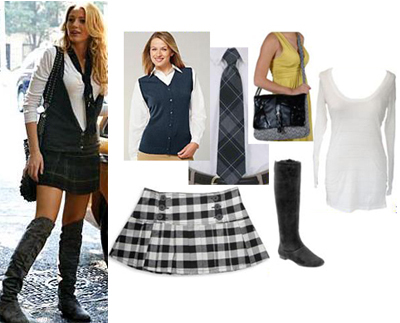 Gossip Girl Serena Schoolgirl Plaid Over the Knee Boots
