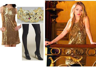 Gossip Girl Serena Gold Sequin Dress