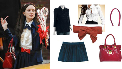 Gossip Girl Blair Schoolgirl Outfit Red Bow Belt Red Bag
