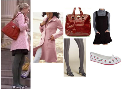 Gossip Girl Jenny Pink Winter Coat Leopard Flats Red Bag