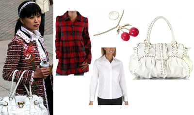 Gossip Girl Kati Plaid Jacket Huge White Bag