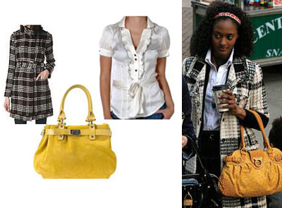 Gossip Girl Isabel Plaid Jacket Coat Yellow Bag