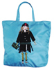 Prada Bright Blue Nylon Applique Dressed Robot with Fiocco Muff Bow Clutch Tie Designer Tote Bag Purse Handbag