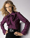 Eggplant Purple Tie Neck Silk Secretary Blouse