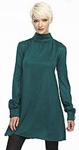 Green Blue Mock Neck Mini Dress