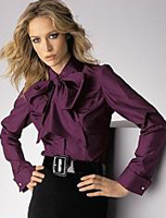 Egglplant Purple Tie Neck Silk Secretary Blouse