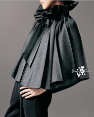 Blanc de Chine Pleated Gray Grey Wool Cape Capelet Fall Winter Fashion Must Haves Naxi Tribal Inspired Design