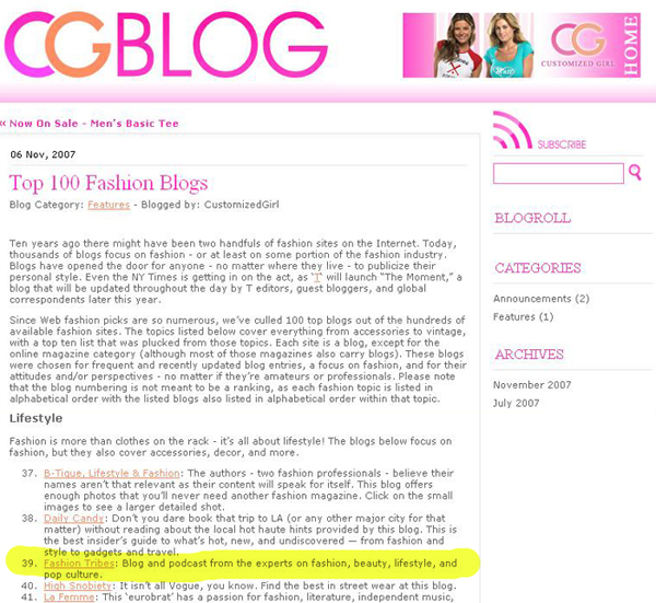 Fashiontribes one of Top 100 Fashion Blogs