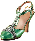 Green Satin T-Strap Sandal Holiday Shoe Ornaments