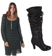 Affordable Fashion Black Knit Dress Apres Ski Chic