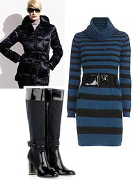 Apres Ski Stripey Stripy Striped Knit Black & Blue Alexander McQueen Dress Black Patent Stella McCartney Boots