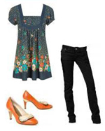 Floral Tunic Orange Shoes Casual Chic