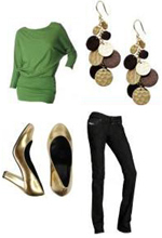 Green Sweater Gold Pumps Gold Coin Dangly Earrings