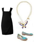 LBD Little Black Dress Butterfly Pendant Necklace Cute Flats Fashion Accessories Date Chic