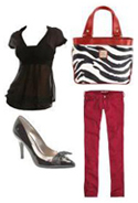Red Jeans Zebra Print Bag Handbag Tote Totebag Fashion Accessories