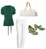 White Jeans Green Top Green T-Strap Mary Janes
