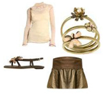 Bronze Metallic Mini Skirt Cream Blouse Fashion Accessories Date Chic Look